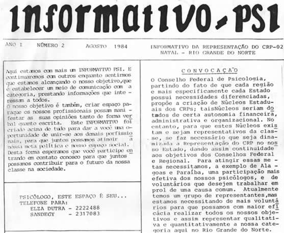 """Imagem da primeira publicação da categoria, o """"Informativo Psi"""", o informativo da Representação do CRP-02/Natal"""